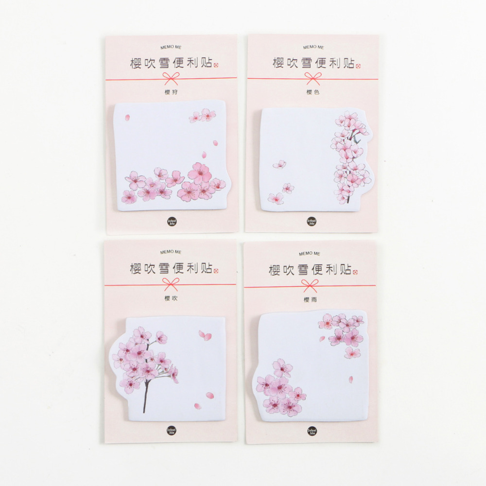 30 Pages /Pack Romantic Sakura Memo Pads Sticky Notes Planner Writing Sticker Student Stationery Notepad