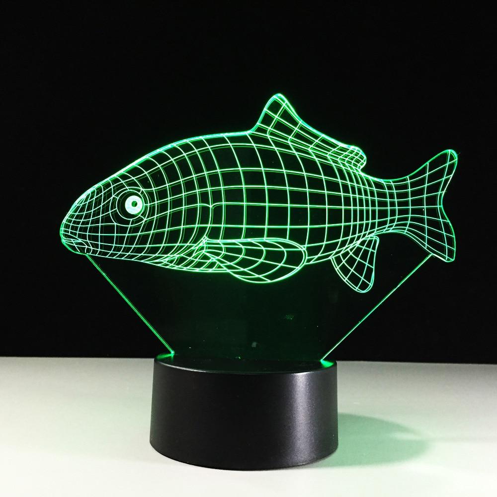 LED Carp Shape Lamp 3D Visual Novelty Fish Night Lights Kids Gifts ...