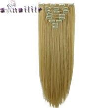 S-noilite 8 Шт. Длинные 24 дюйм(ов) Striaght Толщиной Полная Голова Утка клип в на Наращивание Волос реальные Синтетические Волосы 18 клипов ins