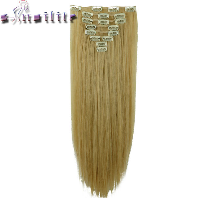 S Noilite 8pcs Long 24 Inches Striaght Thick Full Head Weft Clip In