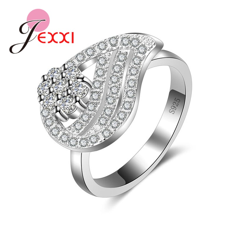 JEXXI New Collection 925 Sterling Silver Brilliant Ring Micro Clear CZ Settings Finger Ring Fine Jewelry Anillos