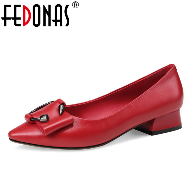 FEDONAS Fashion Women Genuine Leather Shoes Woman Sexy Pointed Toe Office Pumps Ladies Wedding Party Shoes Big Size 34-43 fedonas sexy women sandals high heel buckles wedding party shoes woman genuine leather ladies shoes pointed toe summer slippers
