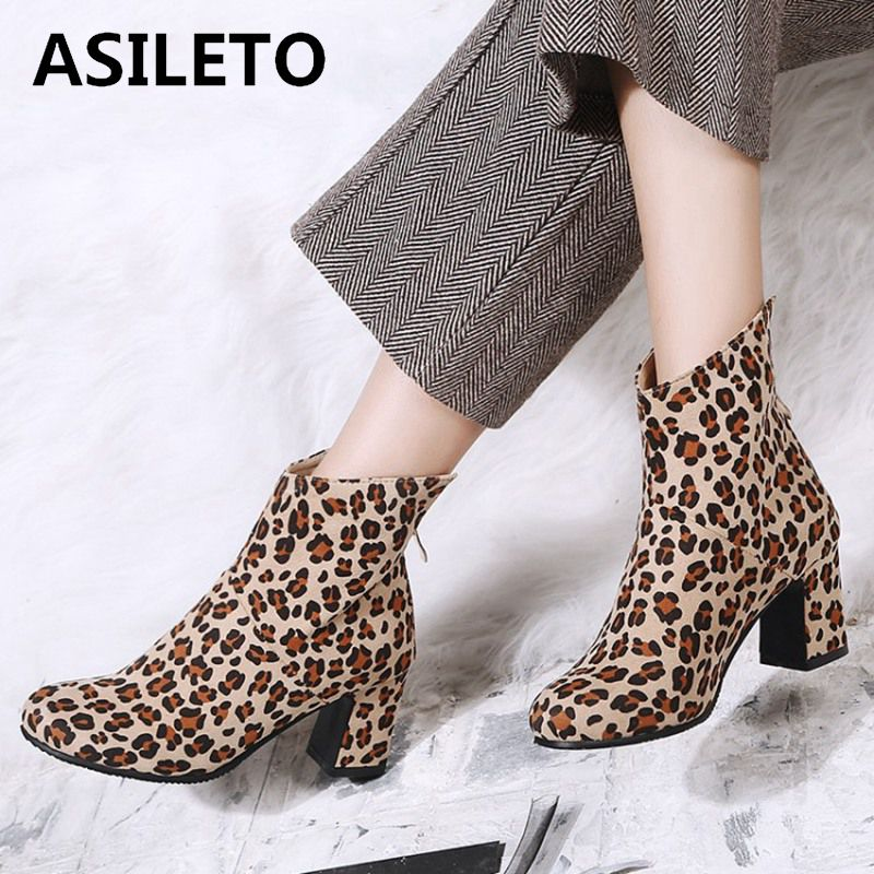 ASILETO big size 44 zipper ankle boots women high heels Chelsea Boots round toe Party shoes leopard fleece bottes feminina suede