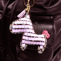 Set Of Crystal Double Sided Horse Key Chain Fashion Woman Bag Ornaments For A Women Gift