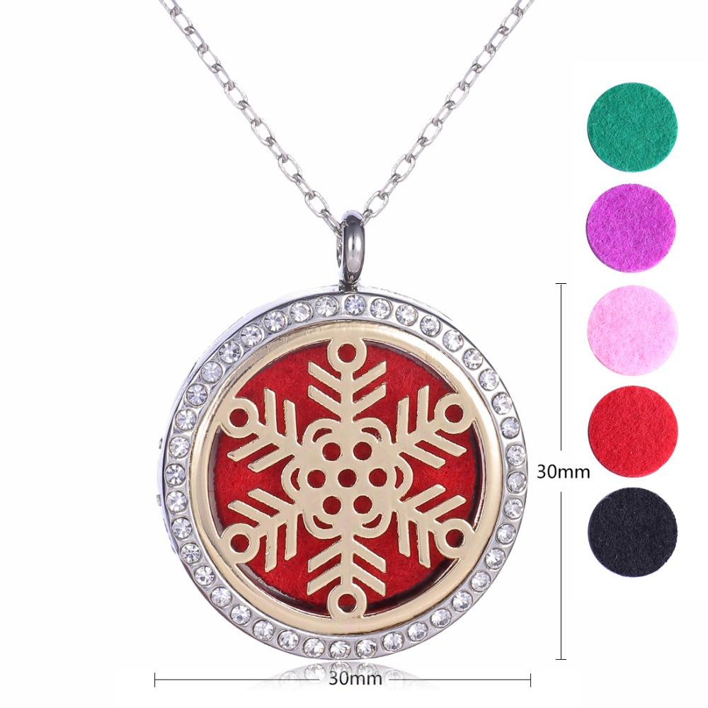 Snowflake Pendant necklace (30mm) Aromatherapy Perfume Diffuser Floating Locket Necklace For Best Gifts Include 24Chain+5 Pads