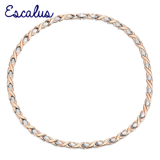 Escalus Bio Choker Stainless Steel Women Magnetic Necklace 2-Tone Rose Gold Silver Color 31pcs Magnets Neckwear Charm Jewelry