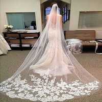 Hot Sales 3M Long Wedding Veils Cathedral Bridal Accessories Lace Edge Bridal Veil With Comb Veu