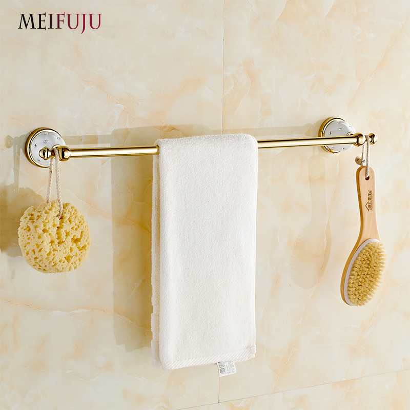 MEIFUJU Single Towel Bar Towel Holder Towel rack Solid Brass & Crystal Made Golden Finished  Bathroom Accessories Free Shipping free shipping brass & stone golden towel rack gold towel bar towel holder cy008s