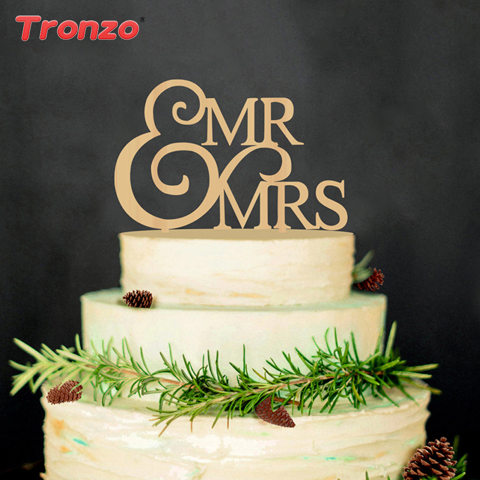 Tronzo Pan Mrs Dřevěný svatební dort Topper Krásný dřevěný stůl dort výzdoba nevěsta koště dort Topper svatební dekorace