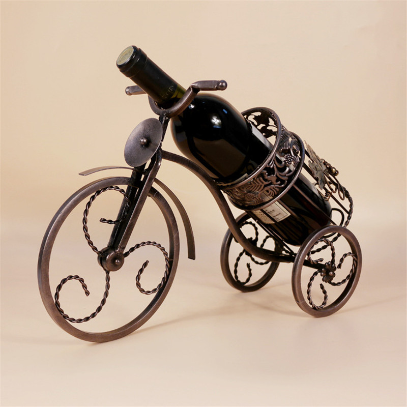 Coffee Gold High End Vintage Wine Rack European Tricycle Metal Wine Holder Home Furnishing Decor Wine Bottle L3127