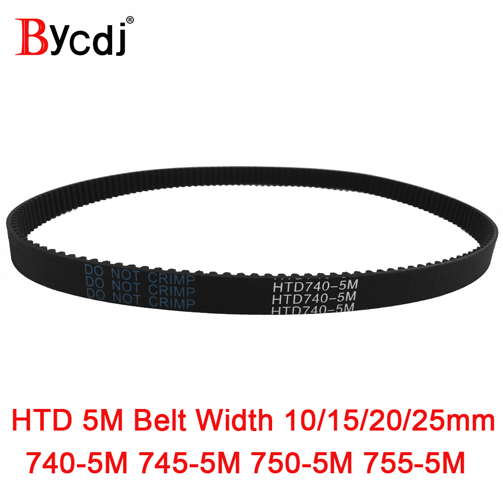 Arc HTD 5M Timing belt C=740/745/750/755 width10/15/<font><b>20</b></font>/25mm Teeth 148/149/<font><b>150</b></font>/151 synchronous Belt 740-5M 745-5M 750-5M 755-5M image