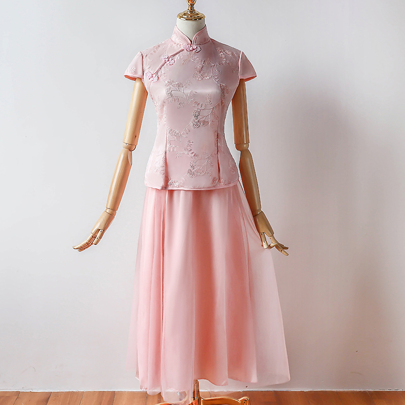 Pink Color Bridesmaid Dresses Short Sleeve Yarn Mesh A-Line Tea-Length Dress For Wedding Party Vintage Hanfu Cheongsam Dress