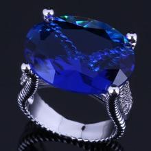 Distinctive Huge Oval Egg Blue Cubic Zirconia 925 Sterling Silver Ring For Women V0573