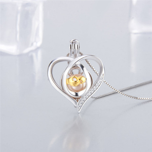 Image 3 - CLUCI 3pcs Silver 925 Pendant Locket for Women Necklace Jewelry 925 Sterling Silver Heart Zircon Pearl Cage Pendant SC362SB