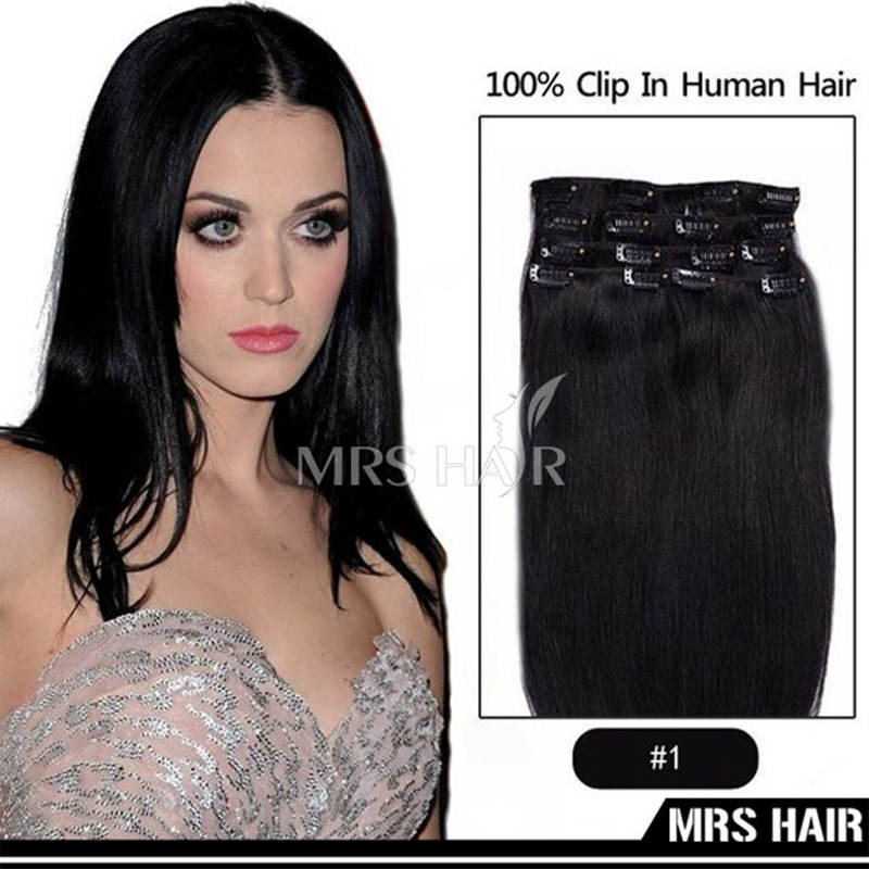 1# Jet Black Indian Remy Clip in Hair Extensions 7pcs/set Soft  SilKy Straight Human Hair Clip Hair Extension 14″ 16″18″ 20″