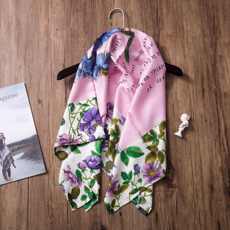 Charmant foulard en soie sergé imprimé Floral 100% châle Hijab 35x35 pouces bords roulés à la main de Style haut