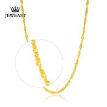 Dczb 24 k colar de ouro puro real au 999 corrente de ouro sólido agradável ondulação de água upscale na moda clássico jóias finas venda quente novo 2020