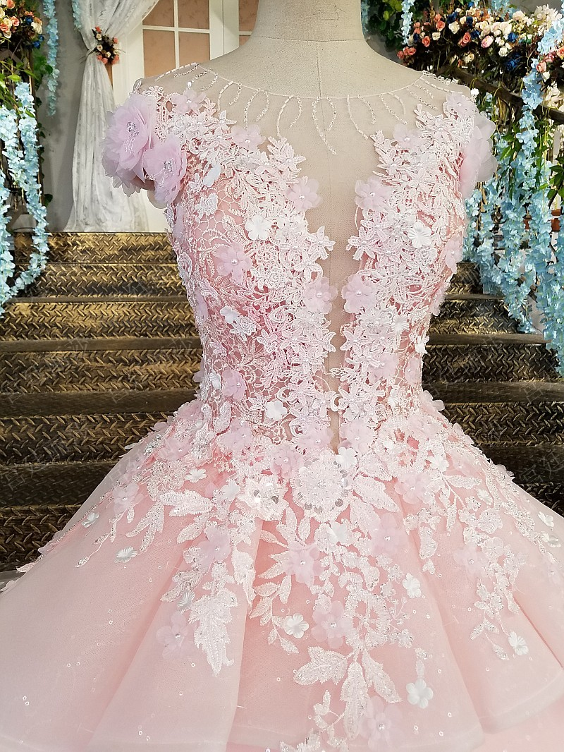 Image 5 - Pink Prom Dresses 2019 Lace Appliques Ball Gown Tulle Sequin Scoop Cap Sleeves Vestidos De Fiesta De Noche Largos Elegantes-in Prom Dresses from Weddings & Events