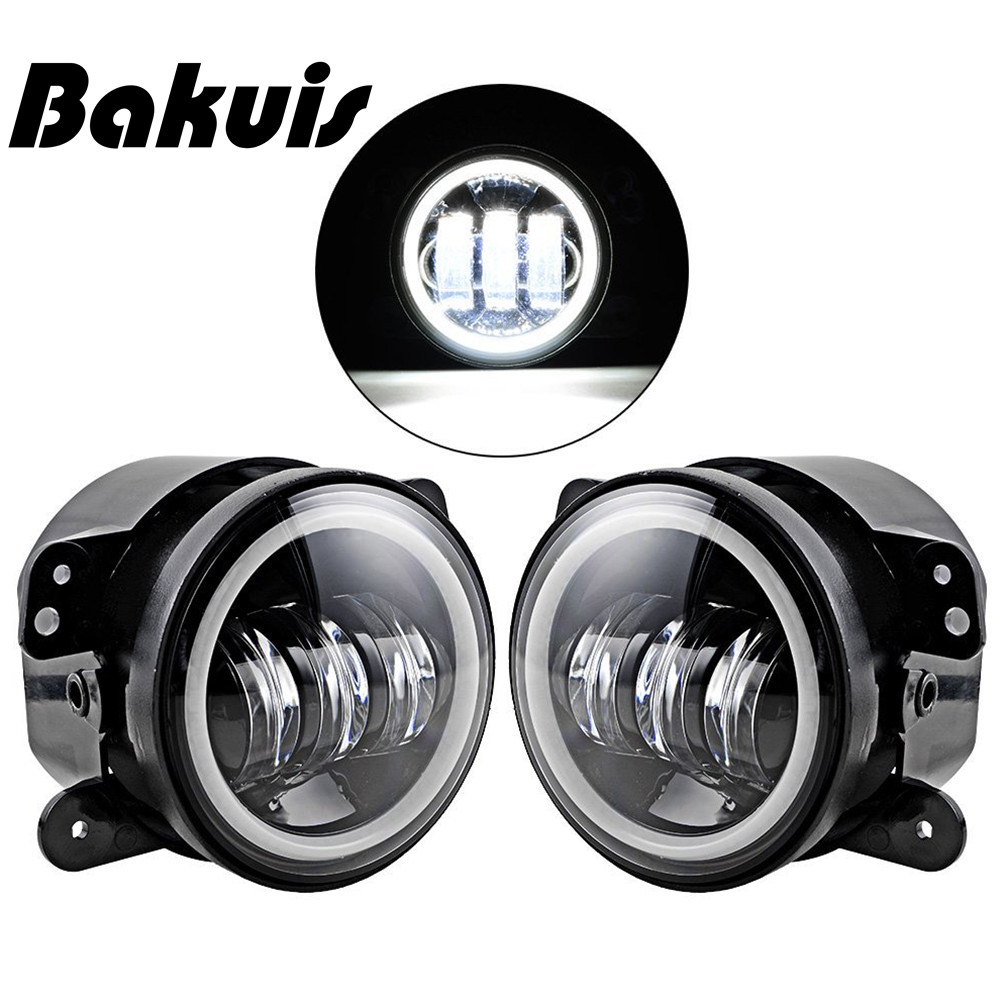 Bakuis Pair 4 Inch LED Fog Lamp Halo Angle Eyes Light Fit Chrysler Dodge Jeep WranglerBakuis Pair 4 Inch LED Fog Lamp Halo Angle Eyes Light Fit Chrysler Dodge Jeep Wrangler