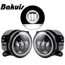 Bakuis Pair 4 Inch LED Fog Lamp Halo Angle Eyes Light Fit Chrysler Dodge Jeep Wrangler