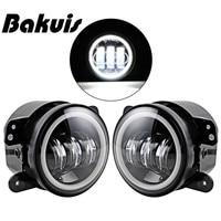 Pair 4 Inch LED Fog Lamp Halo Angle Eyes Light Fit Chrysler Dodge Jeep Wrangler