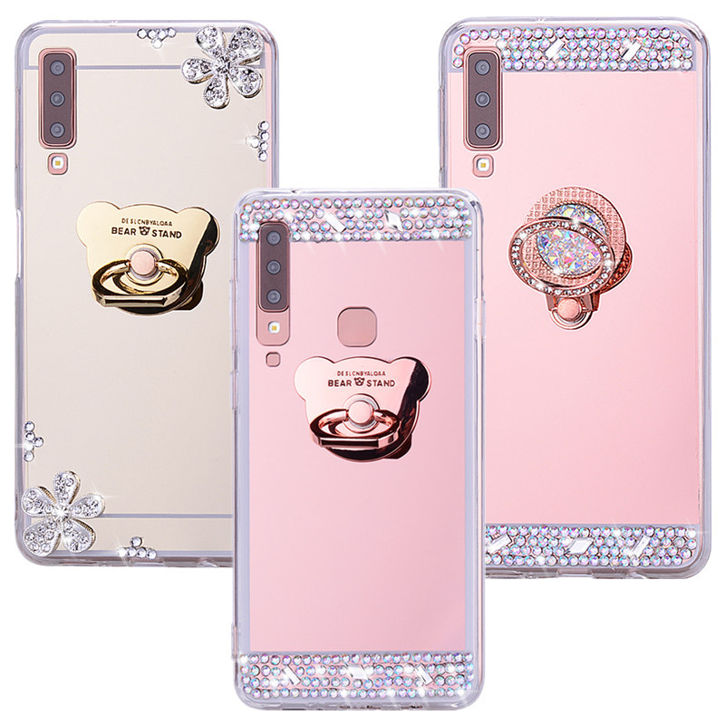 A51 A71 Soft Silicone Cover Mirror shiny Ring <font><b>case</b></font> For <font><b>Samsung</b></font> Galaxy <font><b>A50</b></font> A70 S20 + <font><b>case</b></font> <font><b>Armor</b></font> For Galaxy A9 A7 2018 Phone <font><b>case</b></font> image
