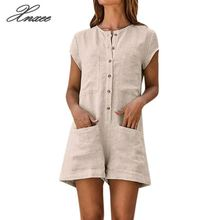 Women Solid Jumpsuits Buttons Front Round Neck Short Sleeve Casual Playsuits Lady Summer Pocket Loose Romper