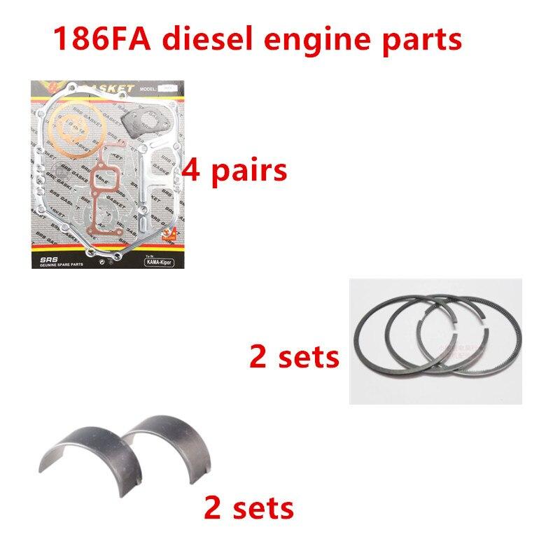 Livraison gratuite moteur Diesel 186FA segment de Piston joint complet bielle roulement costume pour kipor kama