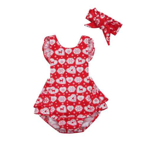 Adorable Newborn Infant Baby Girls Christmas Clothes Red Romper Headband Outfits 3pcs set newborn infant baby boy girl clothes 2017 summer short sleeve leopard floral romper bodysuit headband shoes outfits