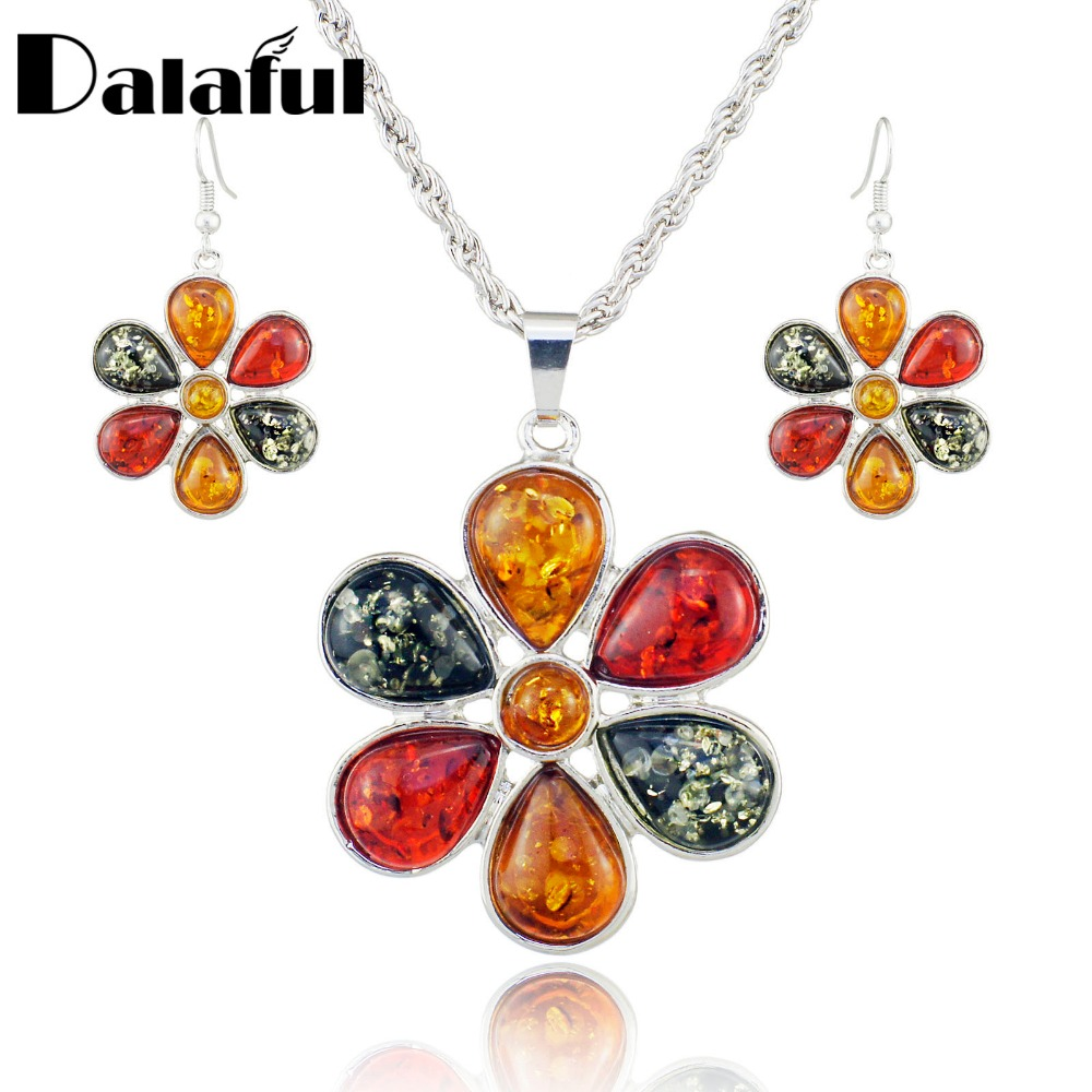 Colorful Baltic Simulated Honey Flower Earrings Necklace Women's Wedding Jewelry Set L40901