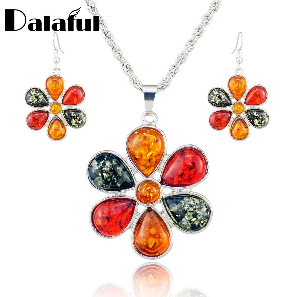 Baltik berwarna-warni simulasi anting bunga madu kalung, Perhiasan pernikahan wanita Set L40901