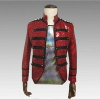 Red Sparkly Sequins Men's Jacket Trendy Slim Outfit Nightclub Bar Host Men Singer Show Jacket DJ DS Dance Stage Show Outfit