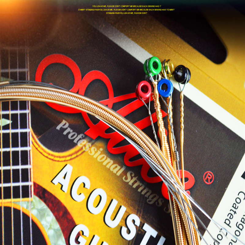 Guitar String Set colorful ball steel core Folk wooden guitar string Acoustic Guitar accessories string anti-rust wrapped string