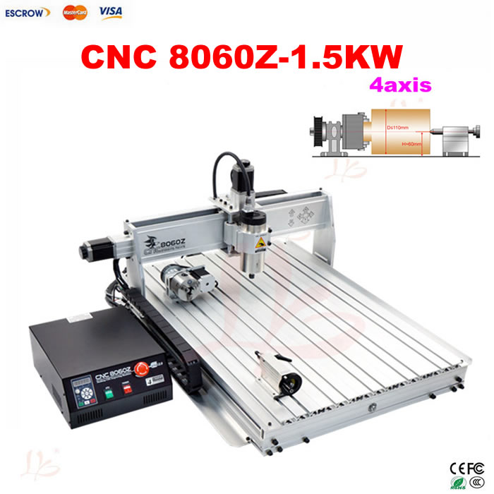 1.5kw 8060Z 4axis CNC Engraving milling and drilling machine with USB PORT eur free tax cnc 6040z frame of engraving and milling machine for diy cnc router