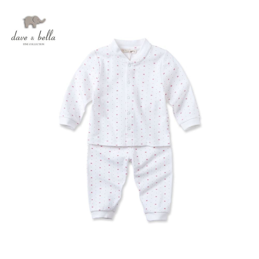 DB2992 dave bella autumn 100%cottom baby sleepwear boys clothing set girls pajamas set infant clothes toddle sleepwear