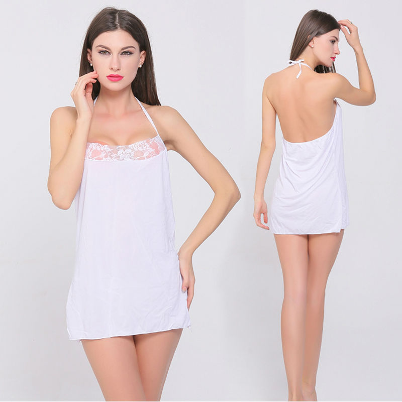 Womens Sexy Lace Lingerie Shoulder-straps Leak Back Evening Skirt Comfortable Soft Condole Belt White Free Shipping