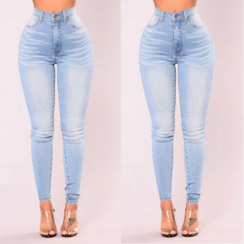 Women's High Waist Skinny Stretchy Denim Jeans Slim Casual Trousers Pencil Pants Blue