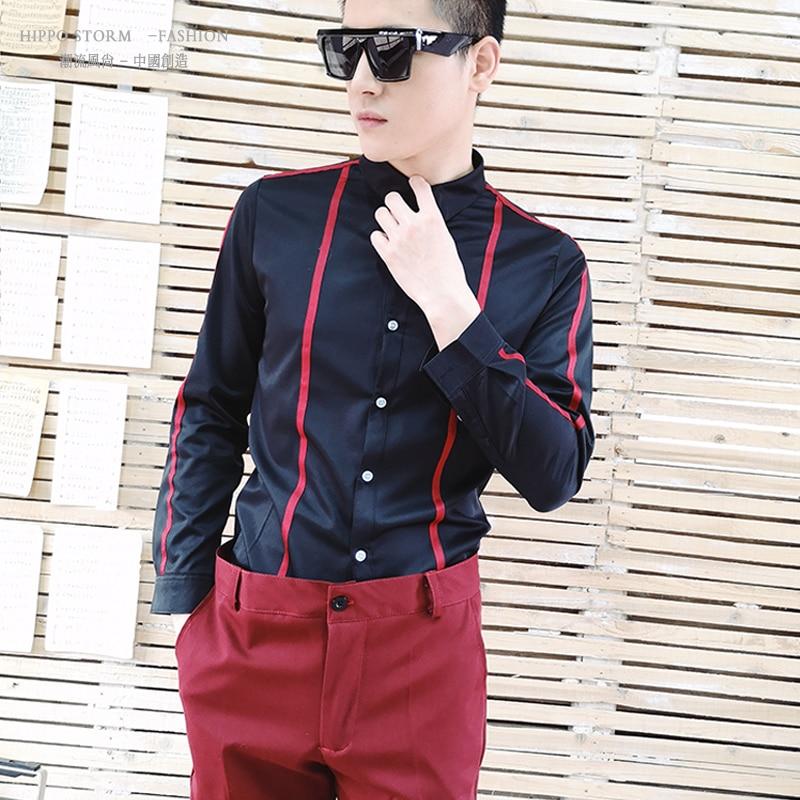 M 2XL!!!!Black red ribbon Korean shirt Slim shirt nightclub tide male singer hair stylist tide shirt costume.