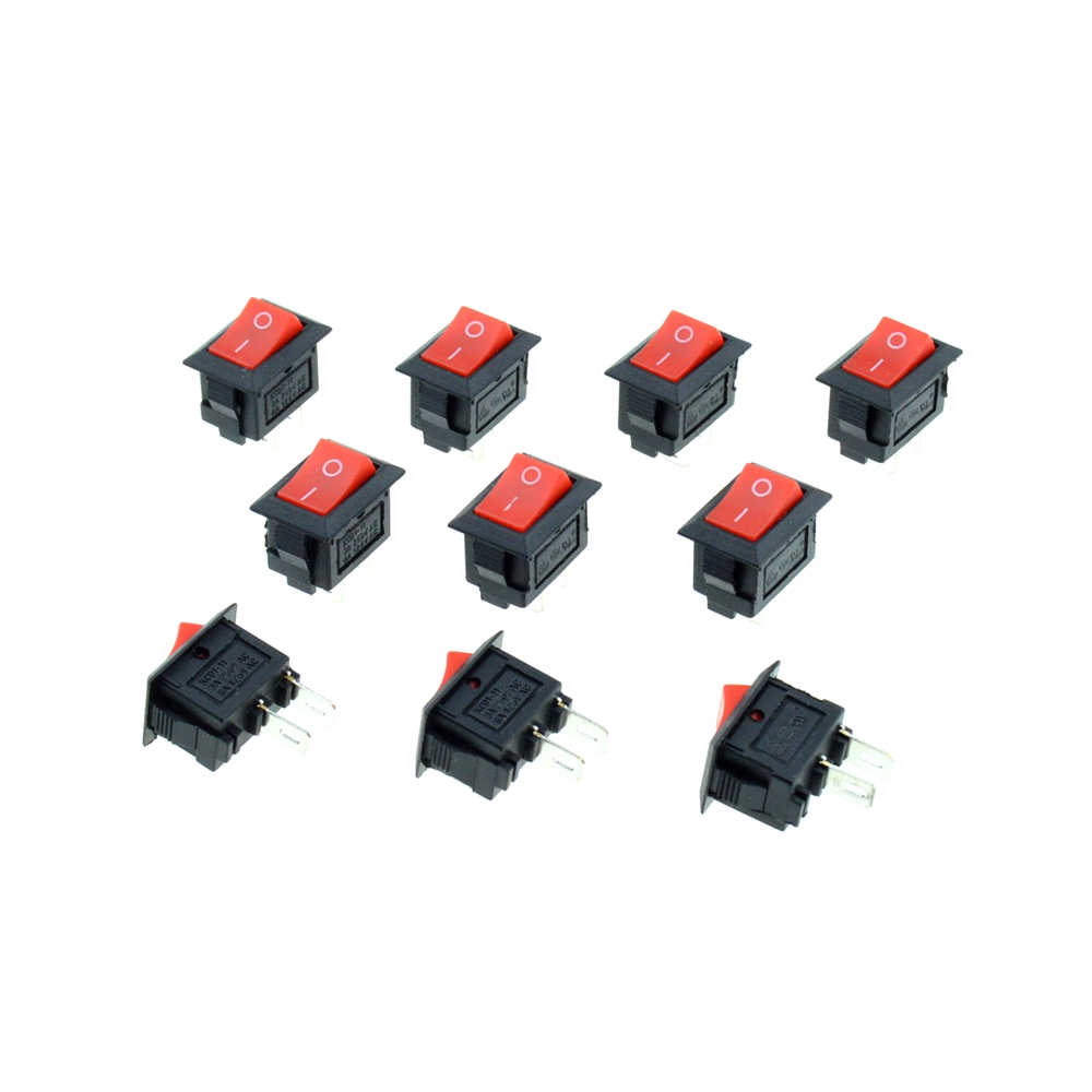 Red Button 3A 250VAC 2Terminals 2Pins 2 Positions ON/OFF SPST Single Pole Single Throw 13x9mm Hole Car Rocker Boat Switch