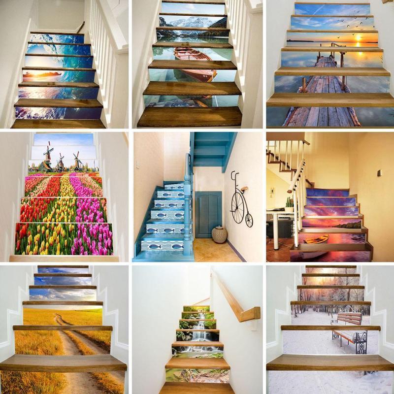 6 Pçs/set Novo Design DIY Cenário Escada Etapas Adesivo Removível Adesivo  Home Decor Adesivo
