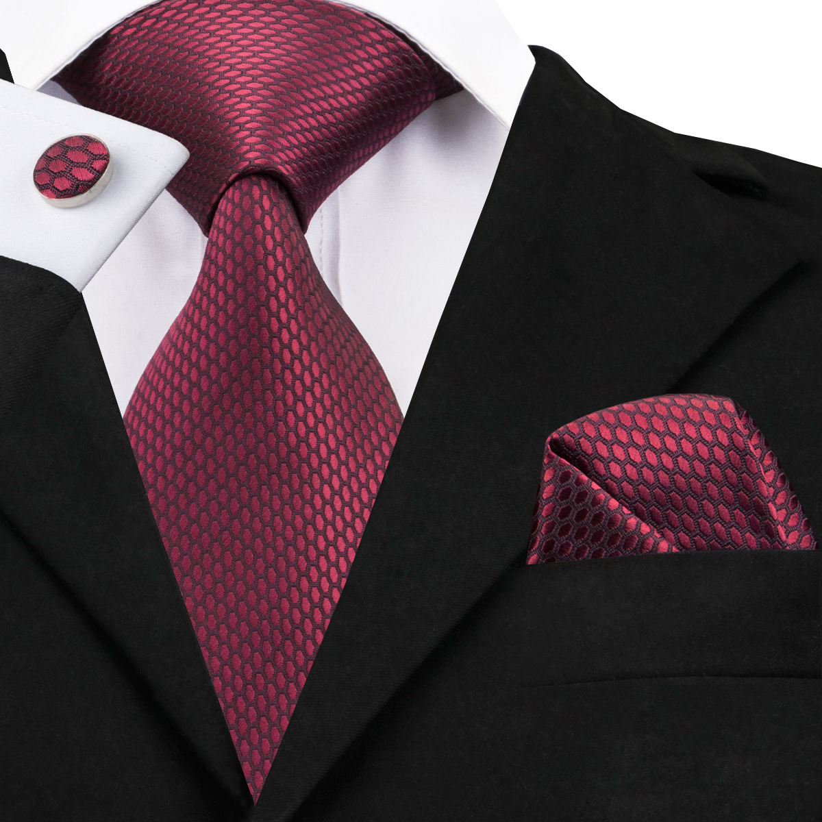 Hi-Tie Luxury Silk Men Tie Set Solid Designer Dark Red Ties For Men Classic Business Wedding Fashion Tie And Cufflinks SN-1464