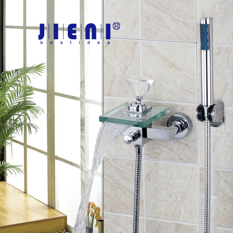 Wall Mounted 8008S/3 Crystal Diamond Handle Waterfall Glass Spout Bathroom Bath Handheld Shower Tap Mixer Faucet free shipping polished chrome finish new wall mounted waterfall bathroom bathtub handheld shower tap mixer faucet yt 5333