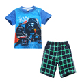 2017 Fashion Summer Star Wars Suits 2pcs Short Sleeve T Shirt + Plaid Shorts Pants Cartoon Clothing Set for Boys Cotton Clothes