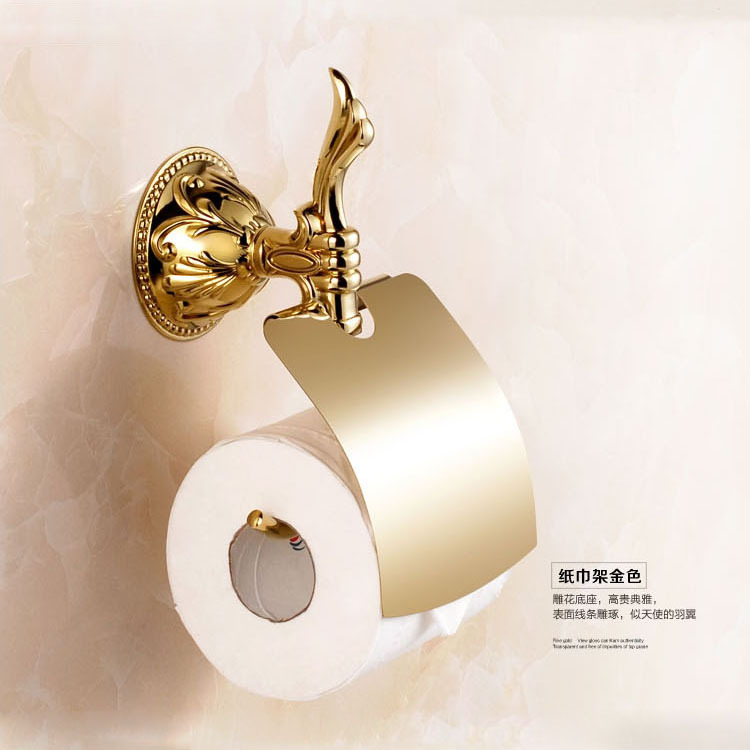 Antique Gold Solid Brass Toilet Paper Holder European Polished Bronze Roll Wall Mounted Bathroom Accessories Products T5 antique carved toilet paper holder brushed tissue holder carton solid brass bathroom accessories wall mounted bathroom products