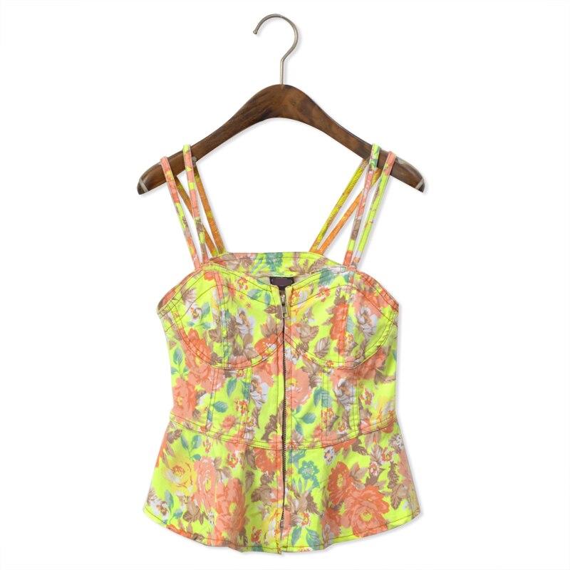 Double shoulder strap sexy floral print vest vintage fashion short design corset small vest corselets beam female