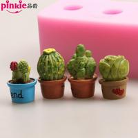 Cactus Plants Shaped Fondant Cake Molds Chocolate Mould Silicone Sugar Decoration Kitchen Baking Clay Craft Silica