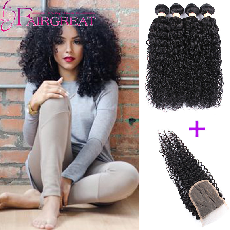 Hair Weft & Closure ( & Bang)  Hair Weft & Closure ( & Bang): Brazilian Kinky Curly Virgin Hair Bundle Deals Afro Kinky Curly Hair with closure Brazilian Virgin Hair 5pcs Lot With Free Gift