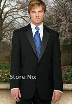 Best Selling Custom Made High Quality Black Groom Mens Tuxedo Suits With Blue Vest,Bespoke Black Tuxedo,Tailored Lapel Mens Suit