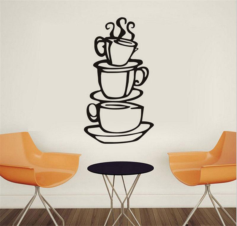 Goody DIY Kitchen Decor Coffee House Cup Decals Vinyl Metal Mug Wall Sticker #587