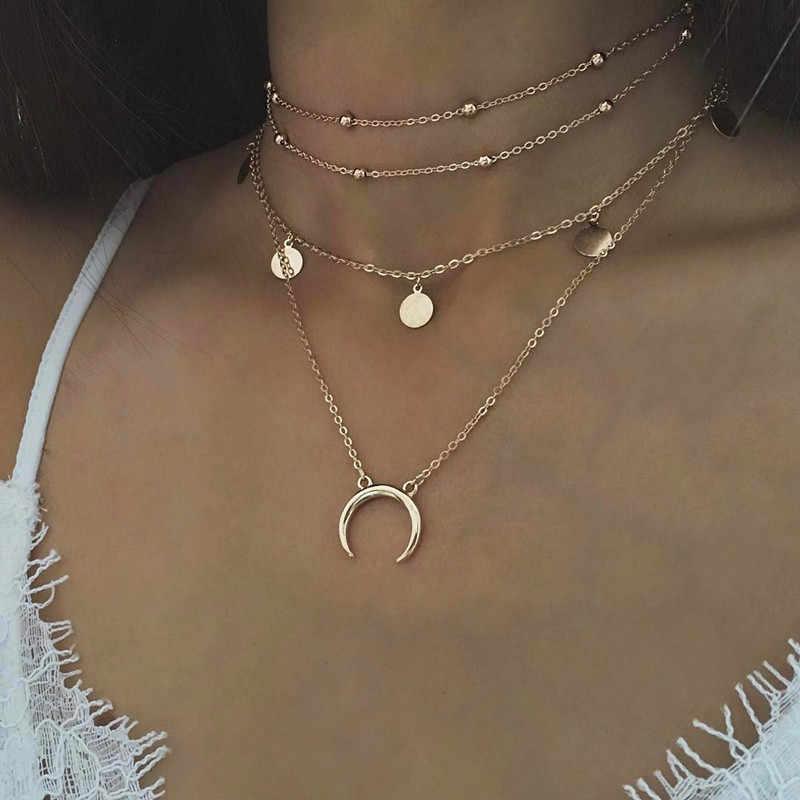 Rongbin de 2018 monedas de oro capas collar de Gargantilla De Luna para las mujeres moneda gargantilla Collares colgantes colar Collares collier femme kolye